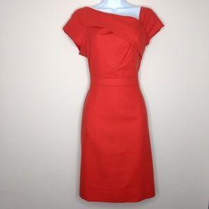 J. CREW Origami Sheath Dress Red Crepe Size 8